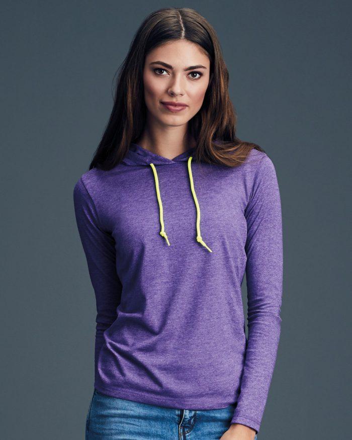 Anvil Ladies L/SL Hooded T-Shirt