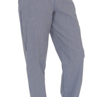 Blue/White Check Fully Elasticated Trouser