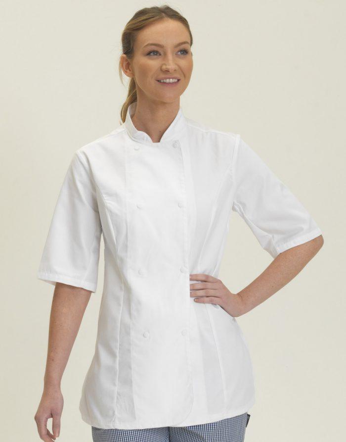 Dennys Ladies S/Sleeve Chefs Jacket