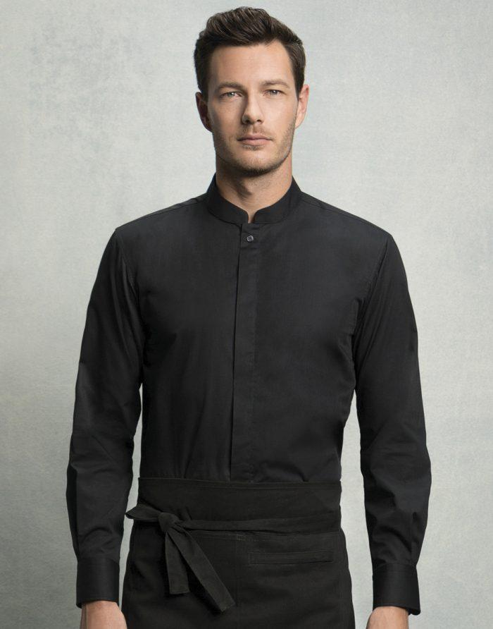 Men's Long Sleeved Mandarin Collar Bar Shirt