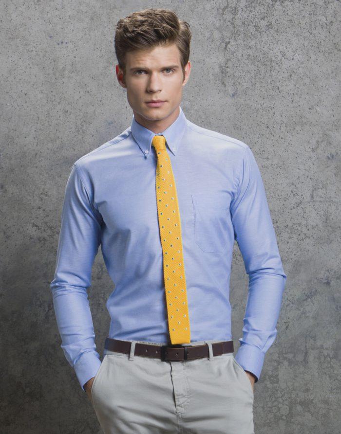 Kustom Kit L/S Slim fit Oxford Shirt