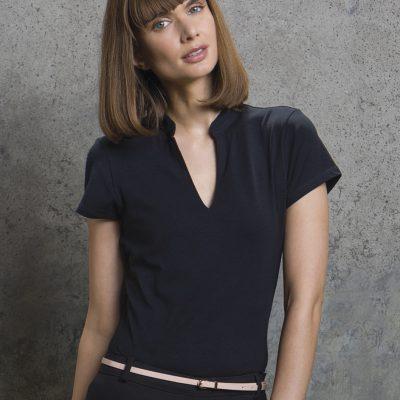 Ladies' Corporate Short Sleeve V-Neck Mandarin Collar Top