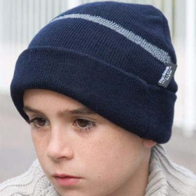 Children's Wooly Ski Hat with Reflective Woven Threaded Band